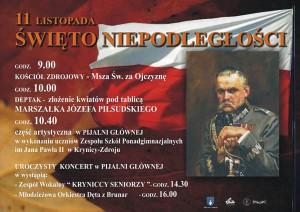 Program obchodów Święta Niepodległości w Krynicy