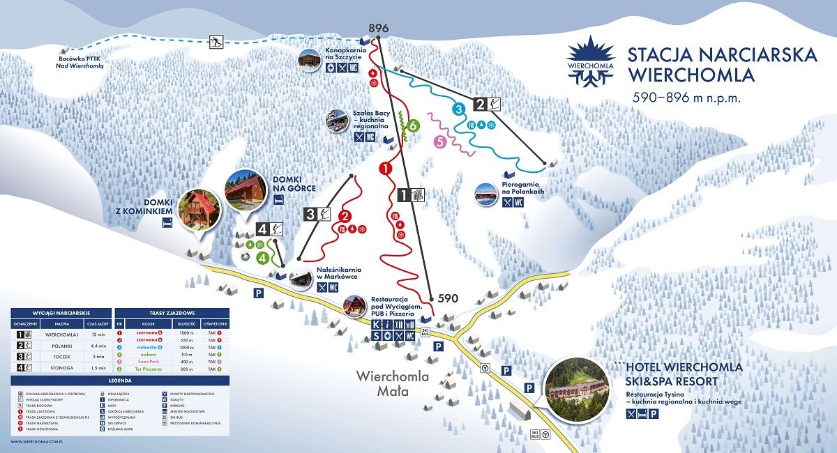 Stacja narciarska Wierchomla - mapa tras