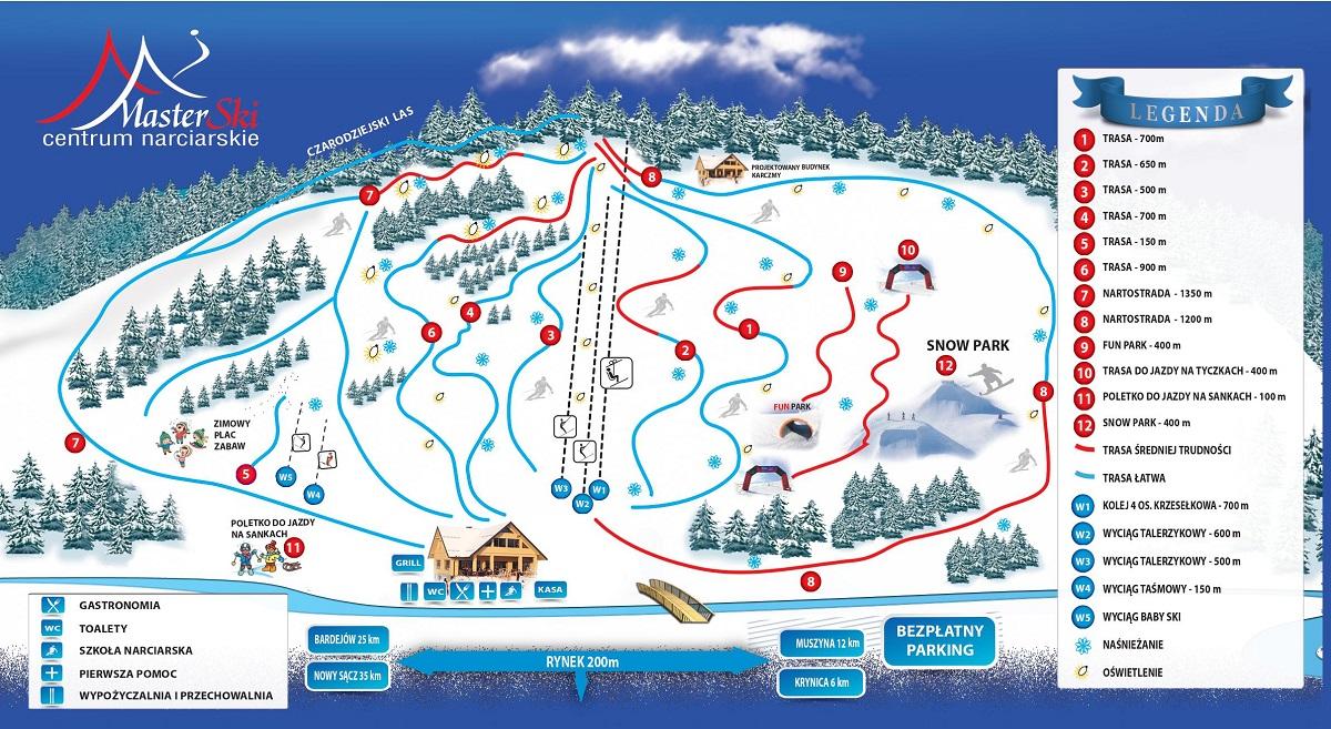 Centrum narciarskie Master Ski - mapa tras