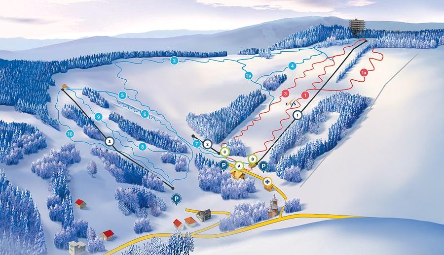 Mapa tras narciarskich - Słotwiny Arena Krynica