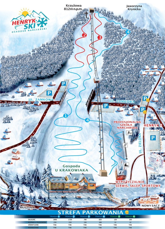 ośrodek narciarski Henryk Ski w Krynicy - mapa tras