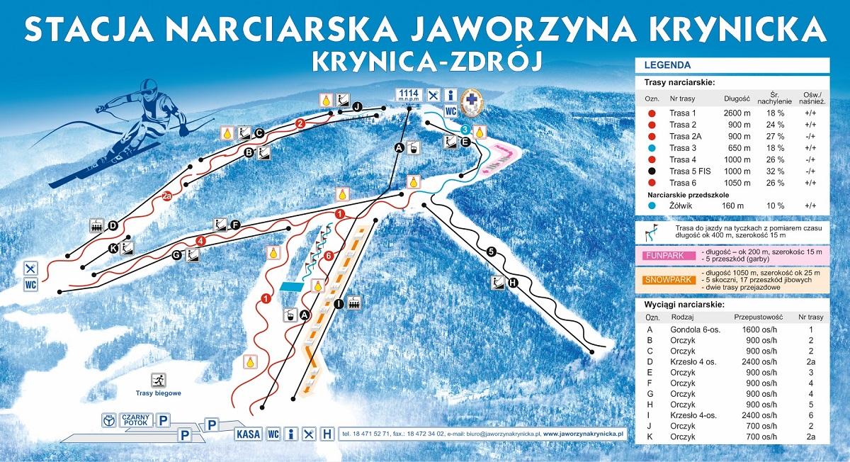 trasy narciarskie na Jaworzynie Krynickiej - mapa tras