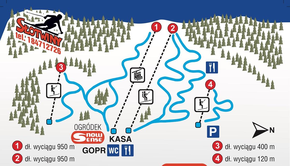 Stacja narciarska Słotwiny - mapa tras