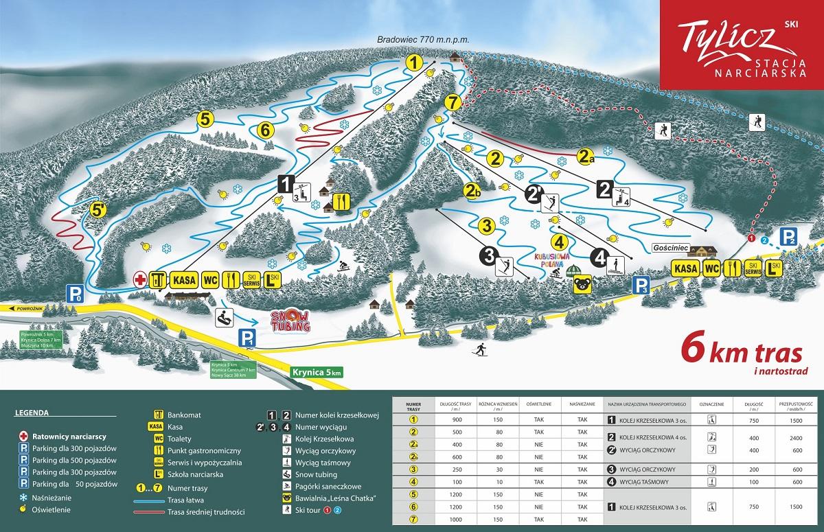 stacja narciarska Tylicz Ski - mapa tras