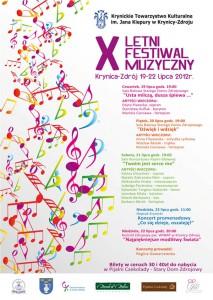 X Letni Festiwal Muzyczny w Krynicy-Zdrój - plakat
