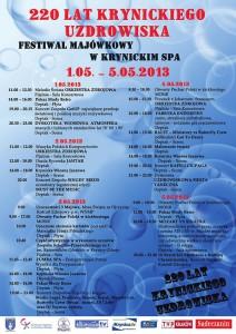 Majówka 2013 w Krynicy - plakat