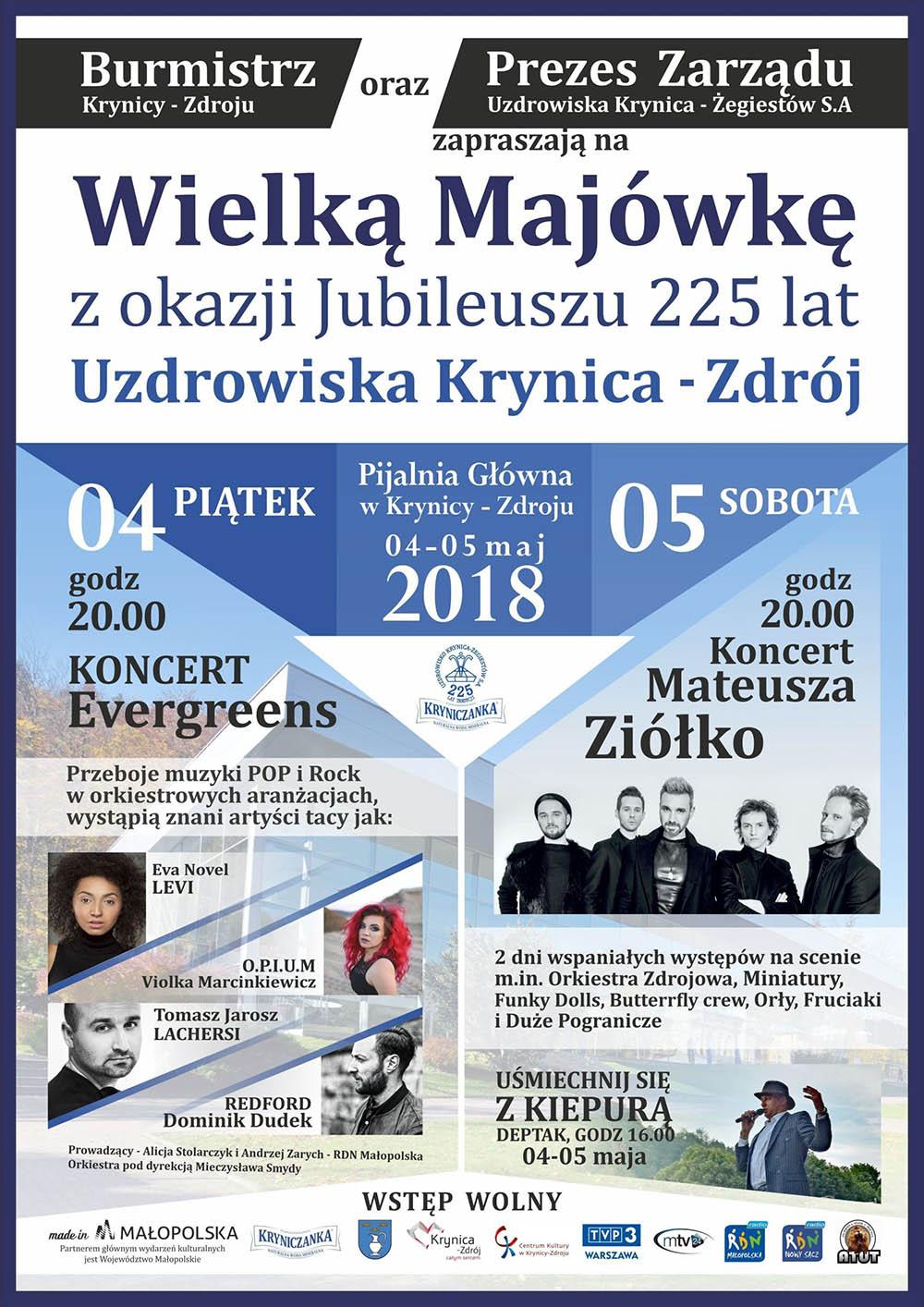 Wielka Majówka z okazji Jubileuszu 225 lat Uzdrowiska Krynica-Zdrój - plakat