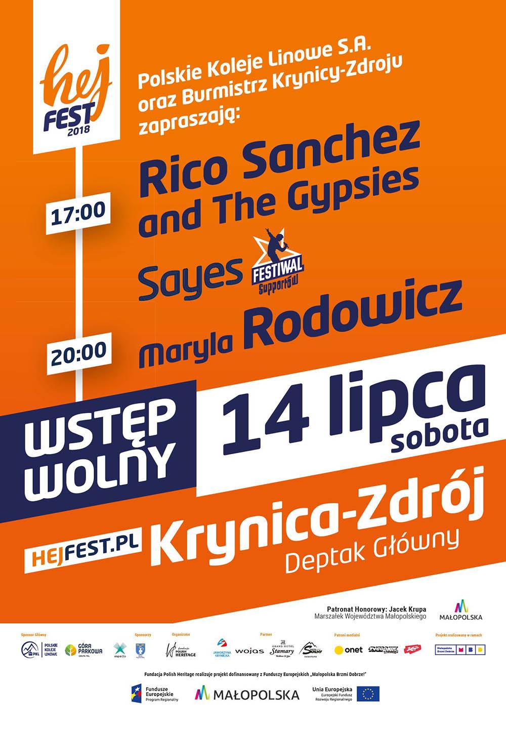 Hej Fest 2018 w Krynicy-Zdroju - 14 lipca 2018 - plakat