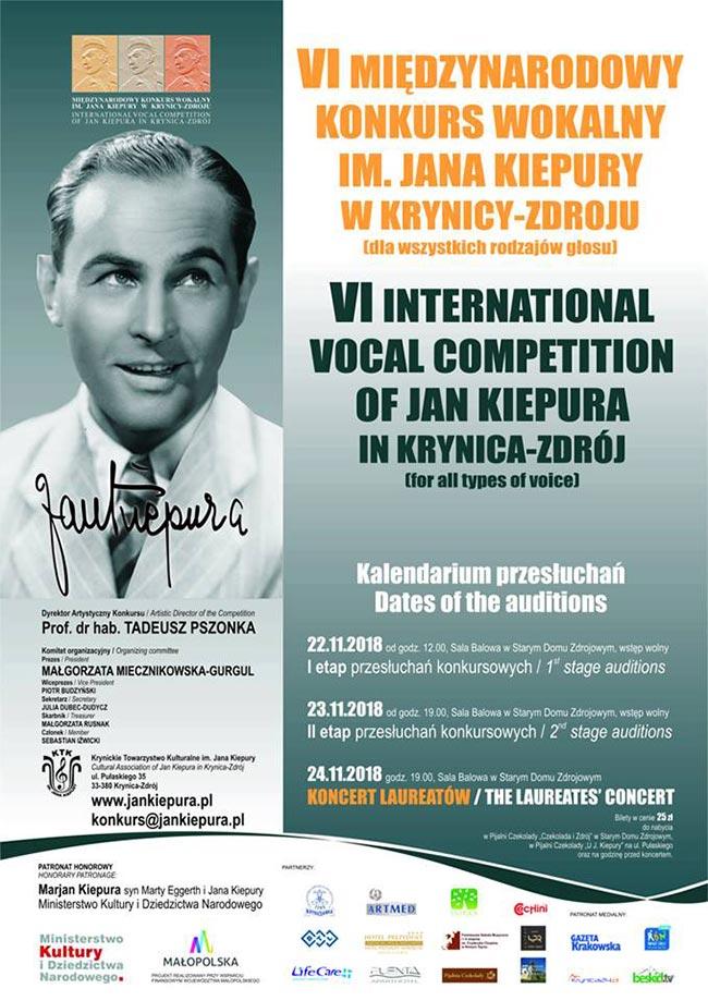 VI Międzynarodowy Konkurs Wokalny im. Jana Kiepury - plakat