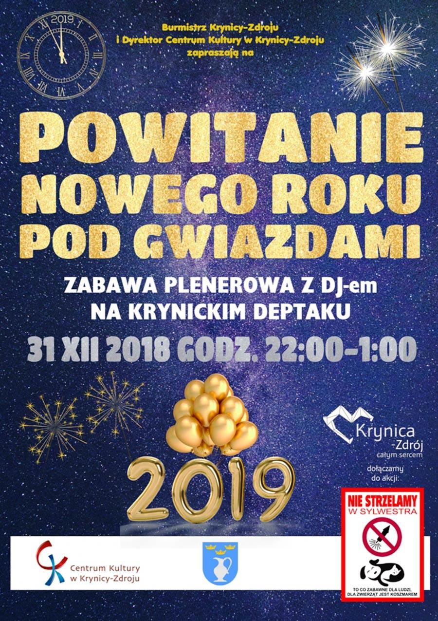 Sylwester 2018/2019 na Deptaku w Krynicy-Zdroju - plakat