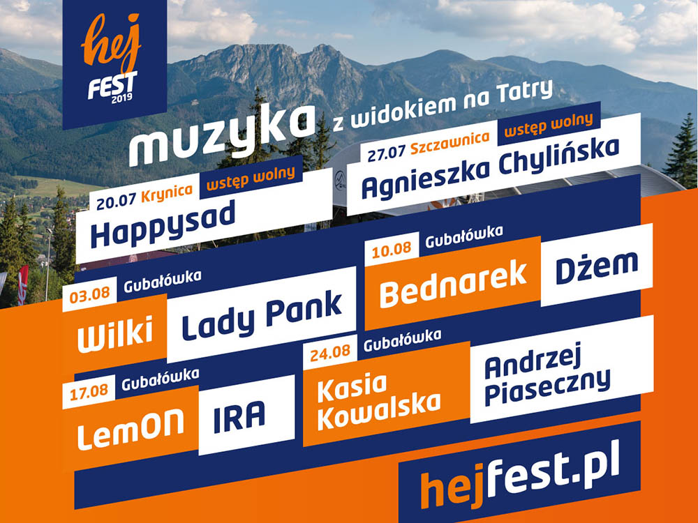 Hej Fest 2019 - cykl koncertów w Małopolsce - plakat
